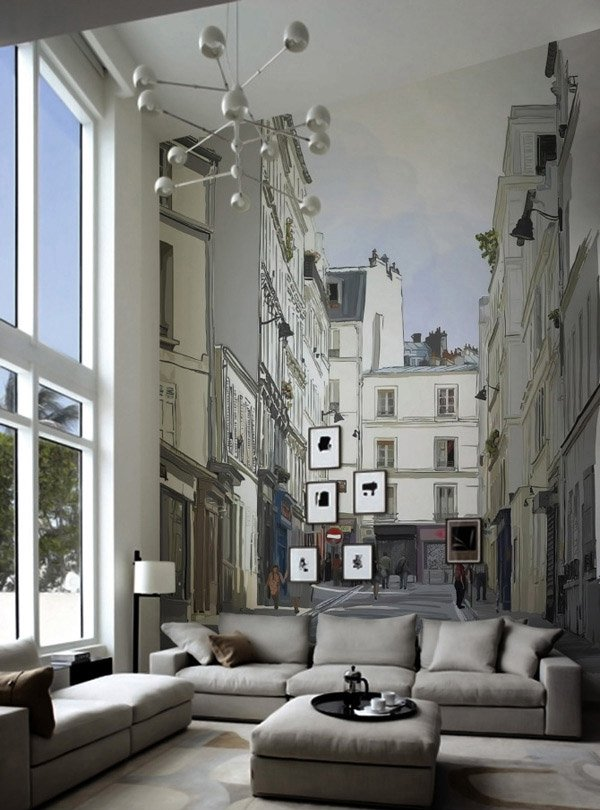 15 Living Rooms with Interesting Mural Wallpapers | Home Design Lover