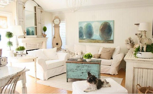 Yet Pretty White Shabby Chic Living Rooms Home Design Lover