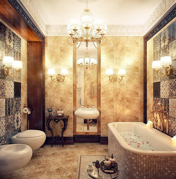 Mosaic tiles Luxurious Bath15 Ultimate Luxurious Romantic Bathroom Designs   Home Design Lover. Luxurious Baths. Home Design Ideas
