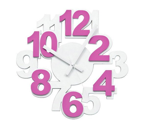 Style Wall Clock Pink White