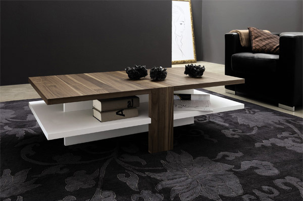 Walnut White Lacquer Modern Center Table