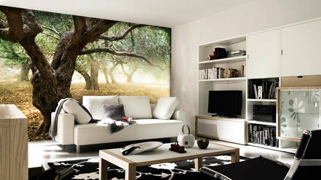 15 living rooms with interesting mural wallpapers home - Unique living room wallpaper ...