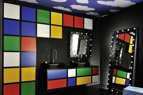 15 lively multi colored bathroom designs home design lover for Colorful bathroom accessories