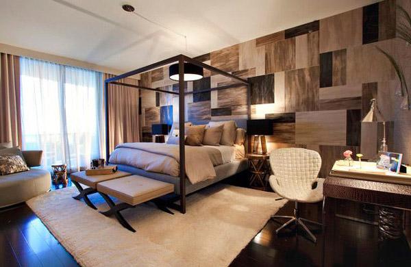 Neutral Floral Wallpaper Bedroom