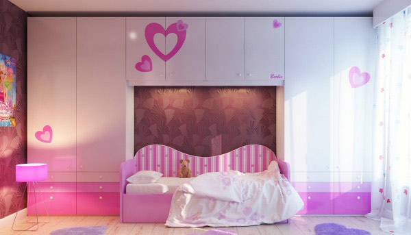 Cute Pink Heart Bedroom