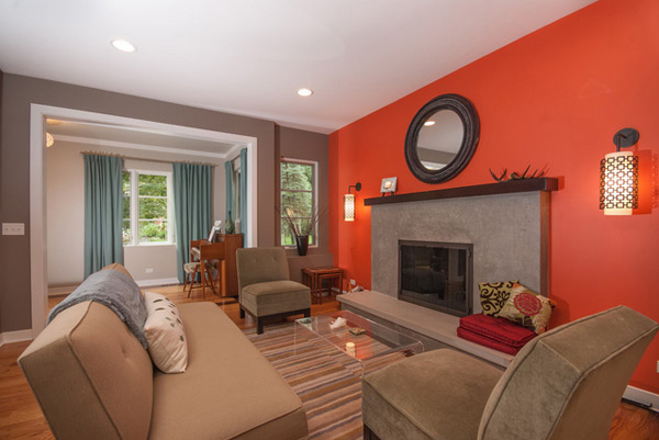Delightful Cool Fireplace With Red Accent Wall. Perfect Red Living Room ... Part 23
