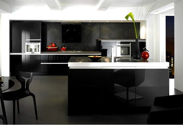 15 black and gray high gloss kitchen designs home design for Kitchen designs high gloss