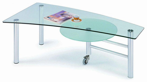 Glass Coffee Table with Round Shelf