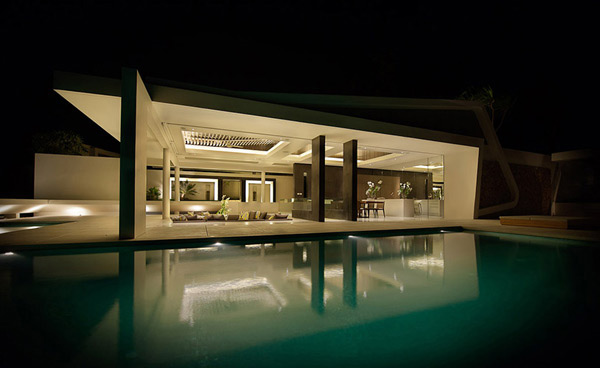 Celadon Villa Pools at Night