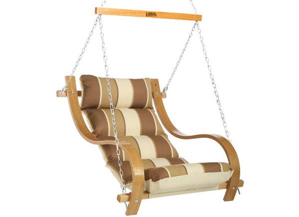 Single Cushioned Swing with Oak Arms - Rio Birch Stripe