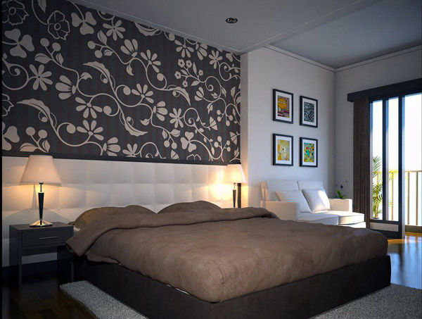15 bedroom designs with earth colors home design lover for Bedroom wallpaper designs india