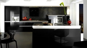 black gray gloss kitchen