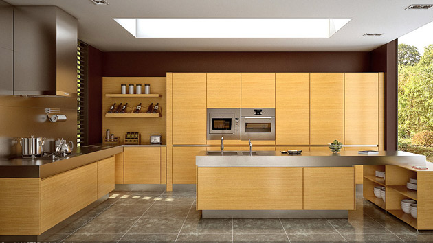 17 wooden matte finished kitchen designs home design lover for Oak kitchen ideas designs