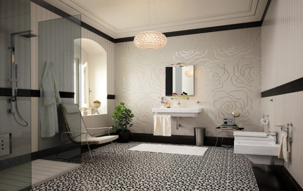 15 lovely bathrooms with decorative wall tiles home design lover - Decorative bathroom tiles ...