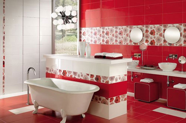 15 lovely bathrooms with decorative wall tiles home for Bathroom designs red