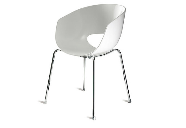 wide reaching scoop chair with polymer seat that hovers on a