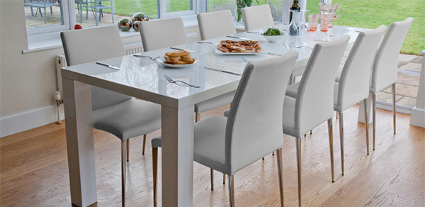 White Gloss Extending Dining Table  Email  Save Photo  minimalist design. 15 Perfectly Crafted Large Dining Room Table Designs   Home Design