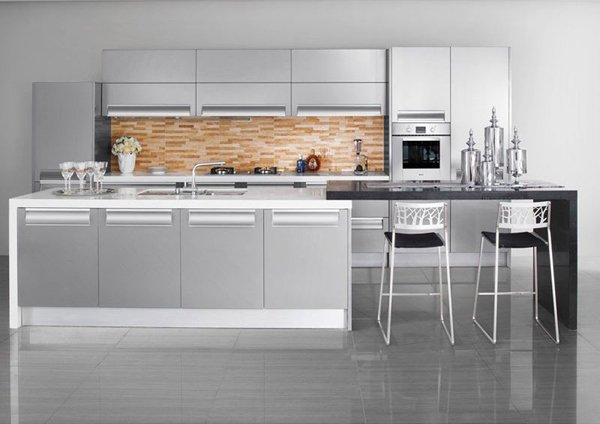 20 modern kitchen color schemes home design lover for Enchapes cocinas modernas