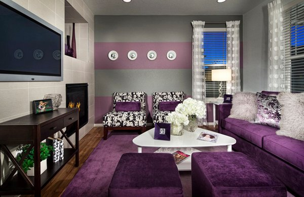 15 catchy living room designs with purple accent home for Purple and grey living room ideas