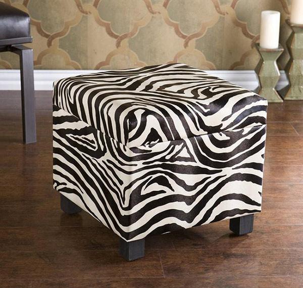 Zebra Faux Leather Storage Ottoman