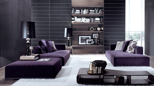 15 catchy living room designs with purple accent home design lover. Black Bedroom Furniture Sets. Home Design Ideas