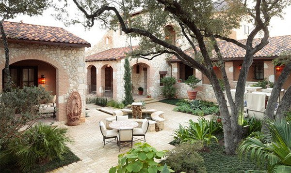 Courtyard Garden With Multicolor Clay Tiles Brick And Stone