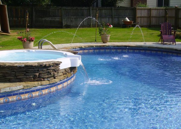 Swimming Pool Fountain Ideas back to post pool with waterfalls ideas for your outdoor space Jacuzzi
