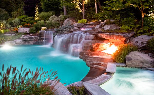 Swimming Pool with Fire Pit