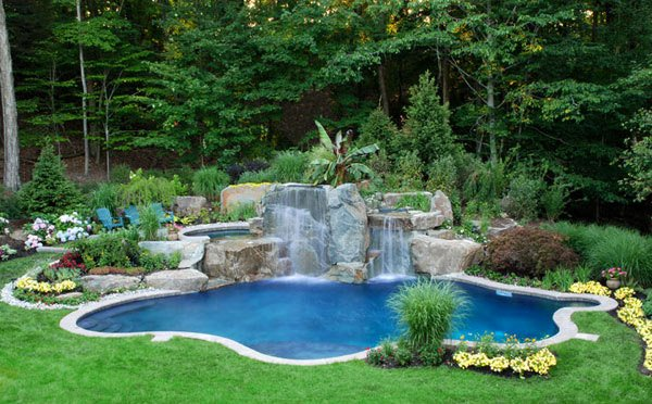 15 pool landscape design ideas home design lover for Pool and garden house plans