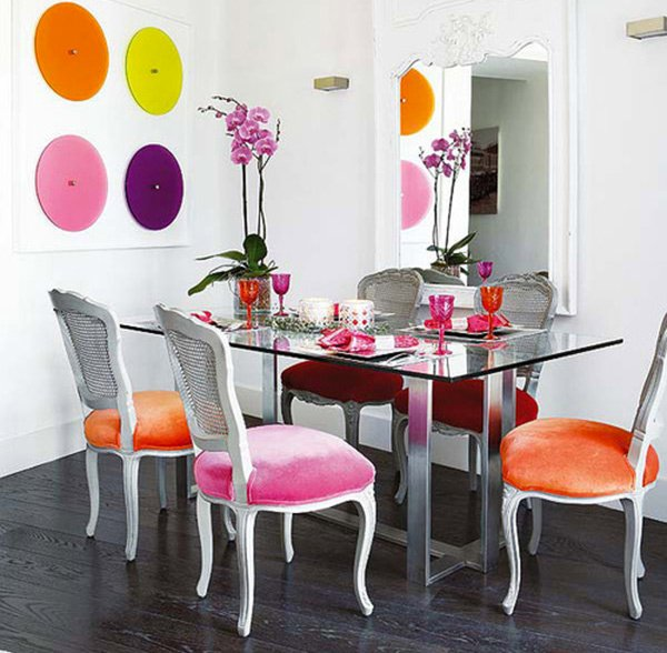 A burst of colors from 20 dining sets with multi colored for Rooms to go dining sets