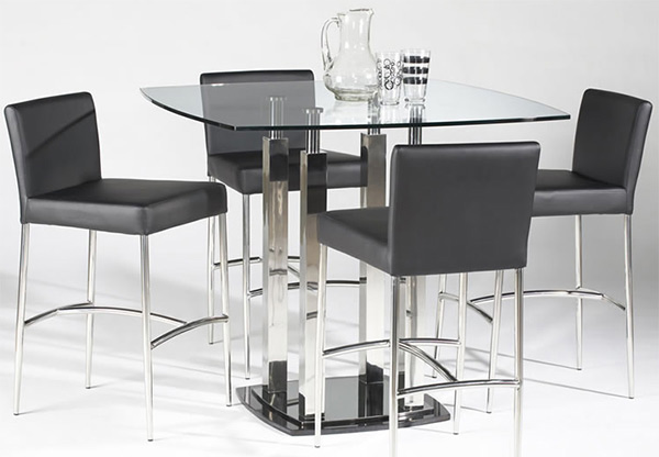 Cilla Counter Height Dining Set with Square Glass Top
