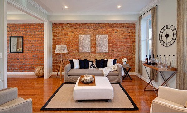 Brick Wall Accents in 15 Living Room Designs | Home Design Lover