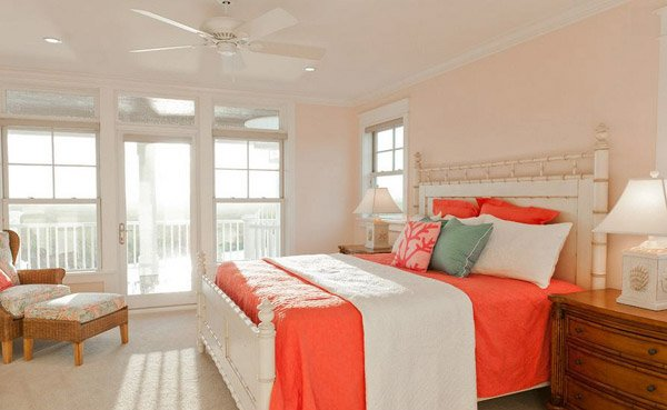 gallery peach and blue bedroom