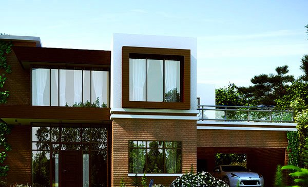 Modern brick house on pinterest modern house exteriors for Terrace in house