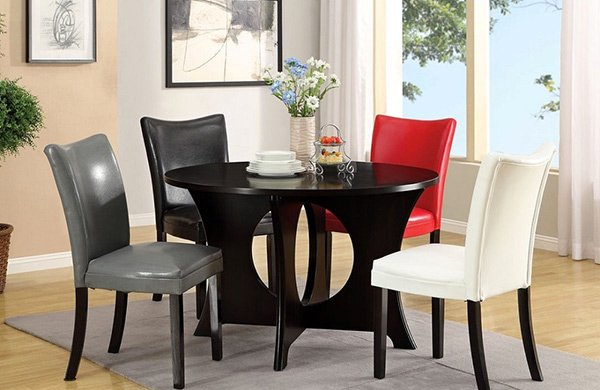 5pc Basca Round Circle Opening Dining Table Set + Multi Color Chairs