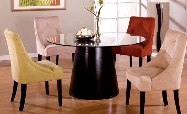 Montecito Espresso Multi Color Microfiber and Beveled Glass 5 Piece Round Dining Set