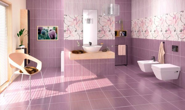 15 creative bathroom tiles ideas home design lover for Purple bathroom tiles ideas