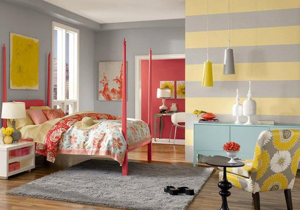 Gray Yellow Striped Wall Bedroom