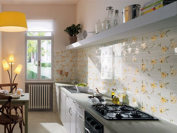 Fap Ceramiche Who Will Disregard Using Floral Tile Designs In Kitchens? We  Love The Yellow Plants Used Here That Supplement The White Tiles And  Counter Top!