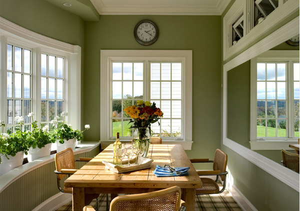 15 Pretty Green Accentuated Dining Room Designs | Home Design Lover