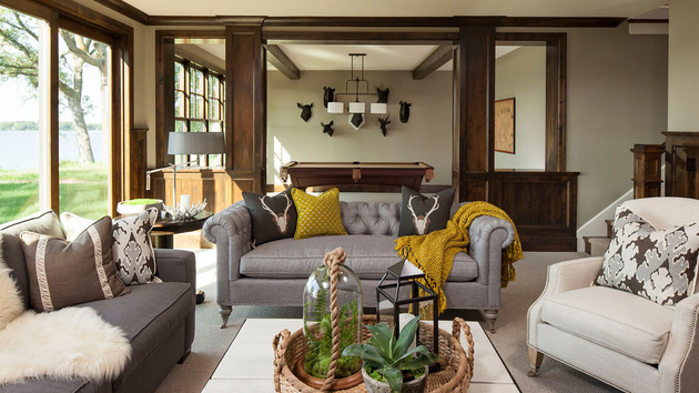 Mustard Accent Living Room with Gray Sofa 630 x 354