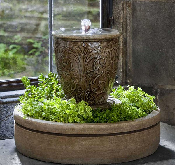 Cast Stone Arabesque Fountain with Planter