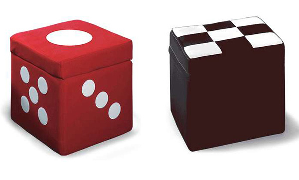 Cube Storage Ottoman - Red Dice or Black/White Checkerboard