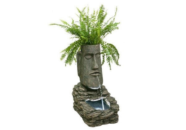Head Solar Water Feature and Planter