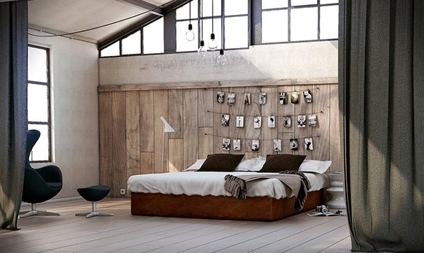 Utilitarian Eclectic Bedroom Wood Panel