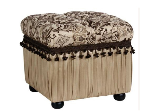 Tufted Pleated Storage Cube Ottoman