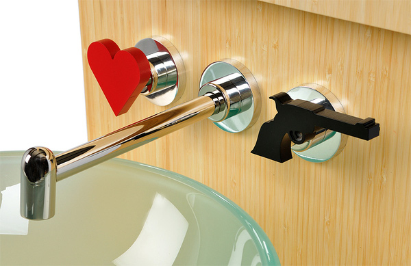 backsplash faucets introduce the new interchangeable handle concept