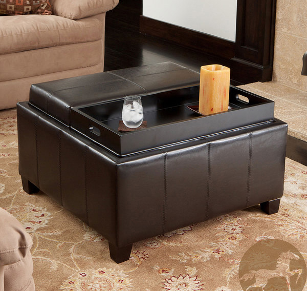 Mansfield Bonded Leather Espresso Tray Top Storage Ottoman