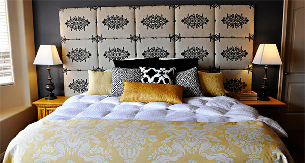 Gray and Yellow Master Bed