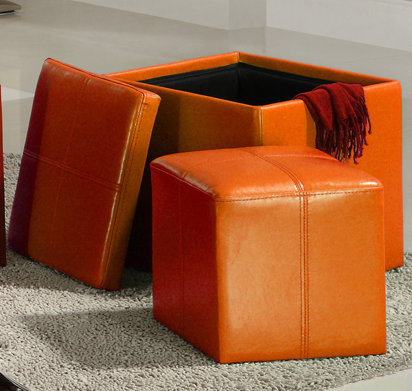 Swayne Orange Storage Ottoman with Mini Foot Stool